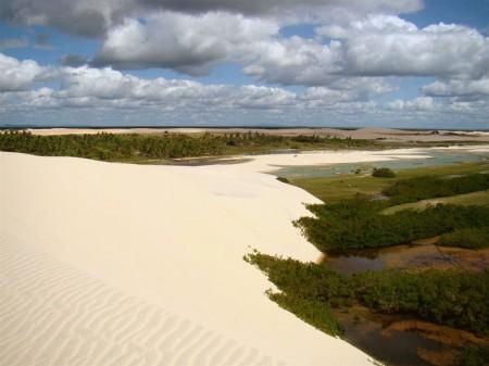 O contraste das dunas e o verde abundante
