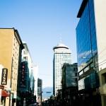 Restaurante panorâmico na torre do prédio em Vancouver