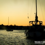 Por do sol deslumbrante em False Creek