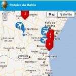 Tela do Mapa de Rotas na Bahia no Waveet