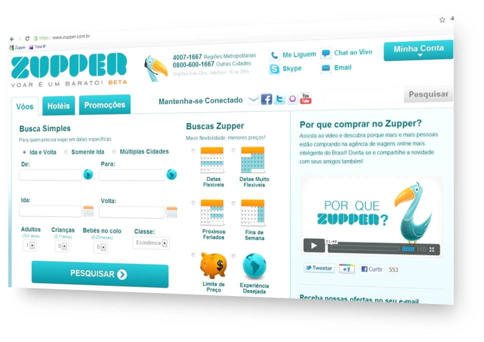 Zupper - O buscador de passagens aéreas inteligente