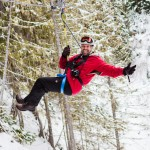 Eu mesmo! Feliz e contente na Tirolesa em Whistler   Foto: Flavia Valsani