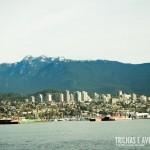 A cidade e as montanhas vistas do Stanley Park