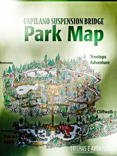O mapa do Capilano Suspension Bridge - Vancouver