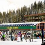A estação de ski no topo da montanha