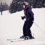 A Flávia estava super concentrada em sua 1ª aula de Ski em Whistler