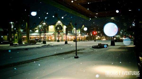 No inverno, as 8hs da manhã ainda é noite em Banff