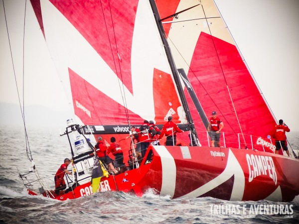 Detalhe do barco da Camper na Volvo Ocean Race em Itajaí