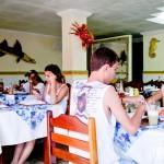 O restaurante estava cheio e mesmo assim não demorou no atendimento