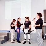 Luanna Alzuguir, tricampeã mundial de jiu-jitsu, durante demonstração de tecnologia de captação de movimentos em 3D