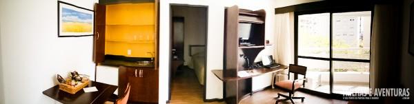 Panorâmica da sala do apartamento