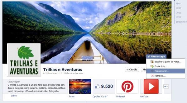 Também é possível reposicionar a foto da capa do perfil ou fanpage