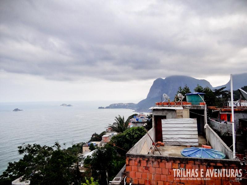 A vista de uma das muitas casas da comunidade do Vidigal