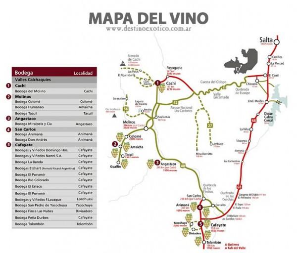 Rota do Vinho e Roteiro de Salta a Cafayate (em vermelho) - Argentina
