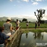 As pontes e lagos do primeiro recinto promovem total integração com a natureza