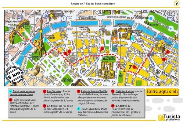 Mapas detalhados com seus roteiros diários e distâncias entre as atrações