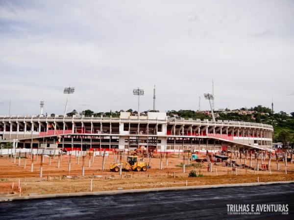 Canteiro de obras do Estádio Grande Rio, em Porto Alegre