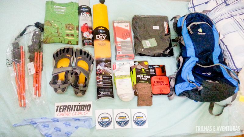 Equipamentos de aventura que ganhamos dos apoiadores dos Adventure Bloggers