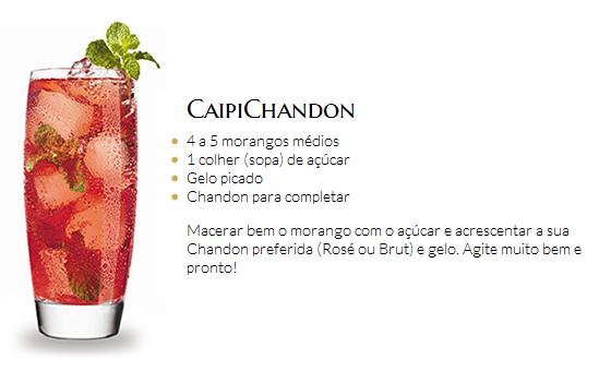 Com bastante morango e açúcar, basta acrescentar a sua Chandon preferida (Rosé ou Brut) e gelo
