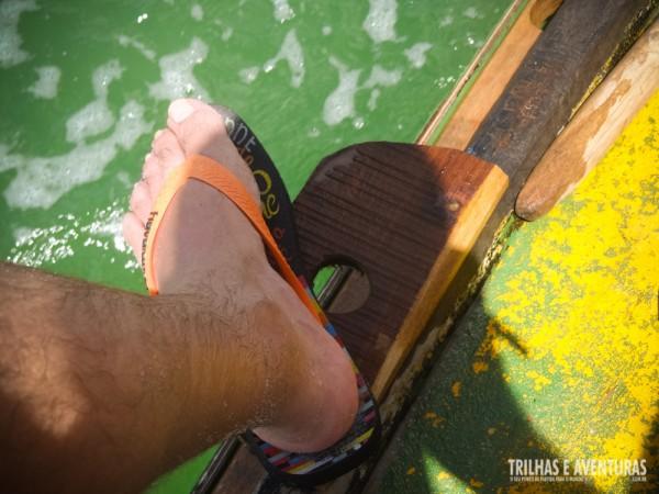 Águas verdes rica em vida na Barra do Cunhaú