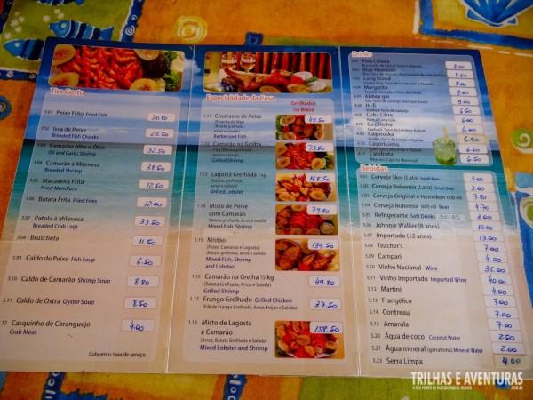 Cardápio com preços altíssimos para um prato simples que servem apenas dois