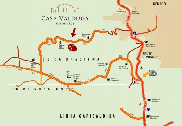 Mapa de como chegar na Vinícola Valduga, em Bento Gonçalves - RS