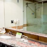Banheiro espaçoso, com secador, amenities e box com ducha forte