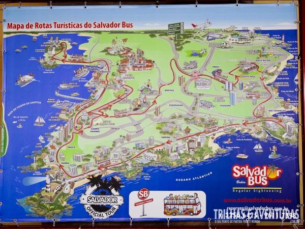 Mapa com o roteiro feito pelo Salvador Bus durante o City Tour