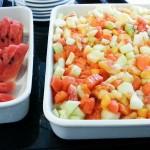 A salada de frutas estava deliciosa e bem fresquinha