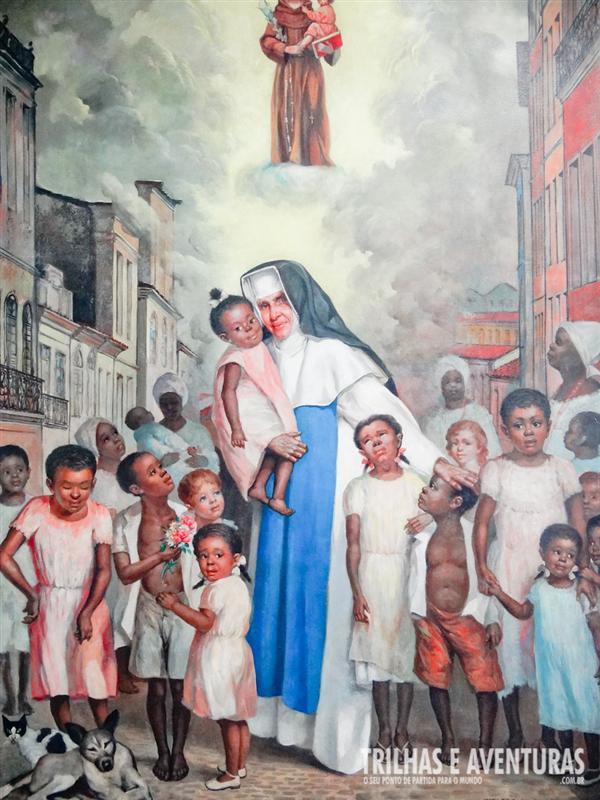Quadro retratando seu amor pelas crianças e desabrigados