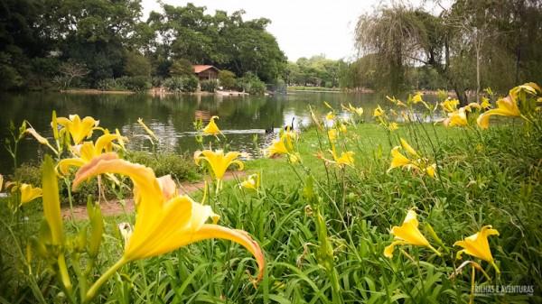 Flores por todos os lados deixam o parque ainda mais bonito