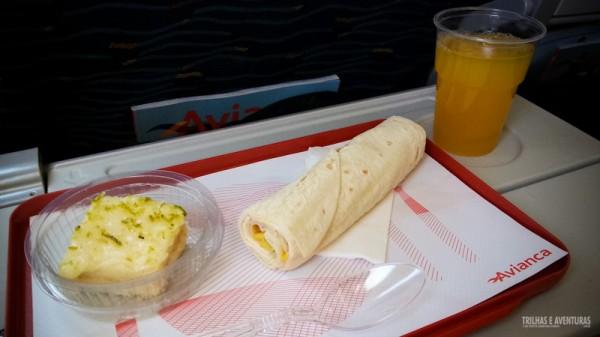 Lanche que comi durante o voo pela manhã