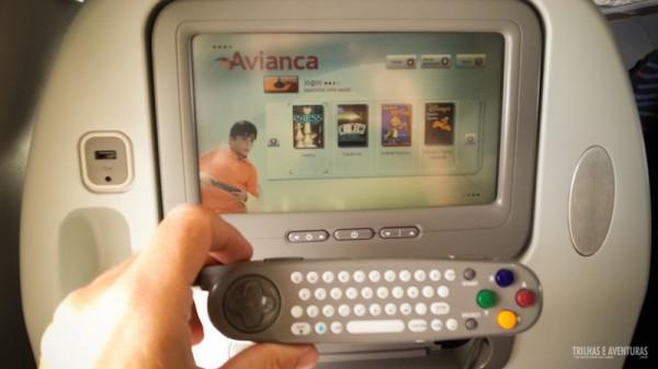 Ótimo sistema de entretenimento de bordo da Avianca