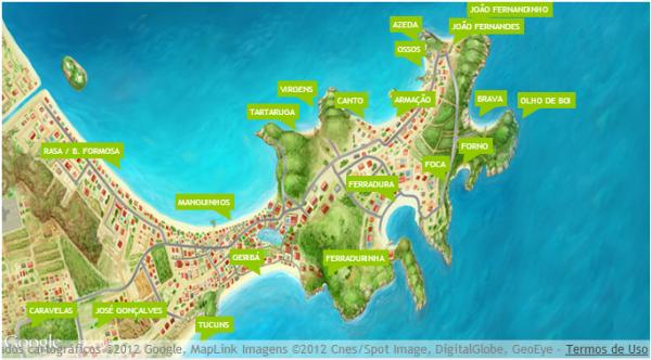 Mapa ilustrado com as praias de Búzios - Fonte: Google Images
