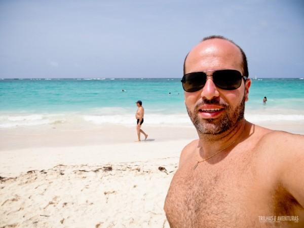 A felicidade estampada na cara em conhecer o mar do Caribe pela primeira vez :D