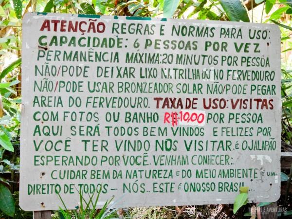 Regras para entrar no Fervedouro da Glorinha no Jalapão