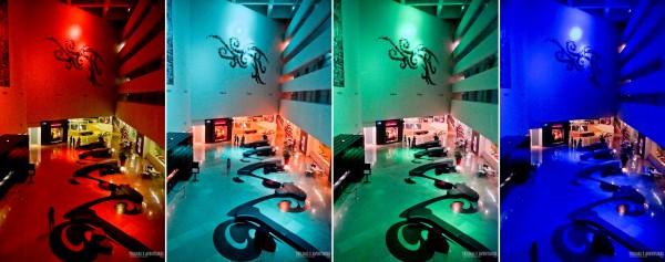 O incrível lobby policromático do Hard Rock Hotel Vallarta