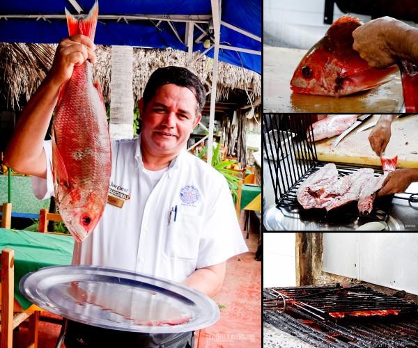 Preparação do peixe com temperos especiais