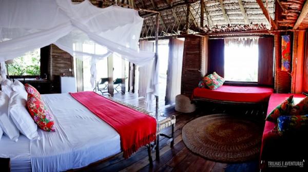 Os bangalôs possuem 1 cama de casal e 2 de solteiro. Perfeito para famílias