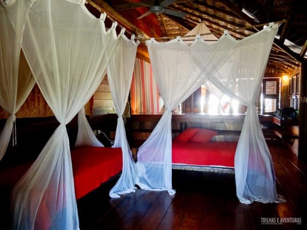 As palafitas possuem ainda 2 camas de solteiro, perfeito para famílias