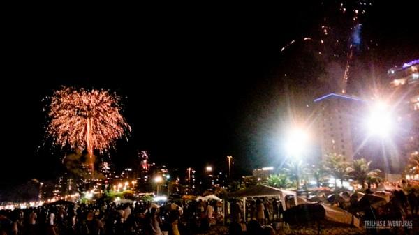 Fogos na Barra da Tijuca durante o Ano Novo