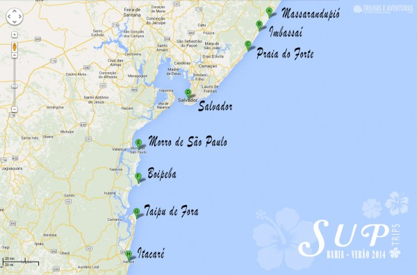 Mapa com o Roteiro da SUPTripBahia