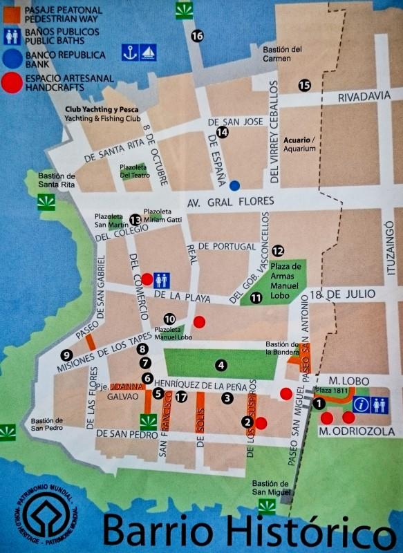 Mapa do Centro Histórico de Colonia del Sacramento (clique para ampliar)