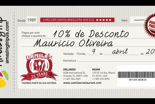 Imprima seu cheque de 10% de desconto para comer no Camilas Restaurante em Orlando ou Miami