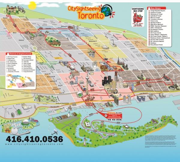 Pontos de parada do City Tour de ônibus em Toronto