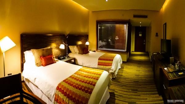 O super quarto que fiquei no Hotel Dreams, em Temuco