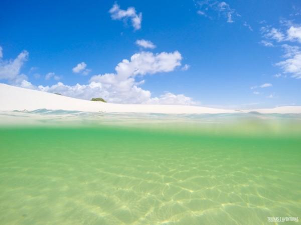 Água verdinha e céu azulzinho ao mesmo tempo nos Lençóis Maranhenses