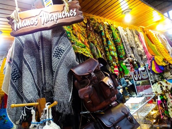 Artesanato Mapuche no Mercado Público, em Temuco