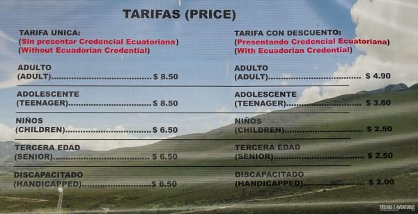 Tabela de Preço do Teleférico de Quito
