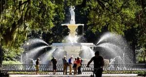 Chafariz no Forsyth Park, em Savannah